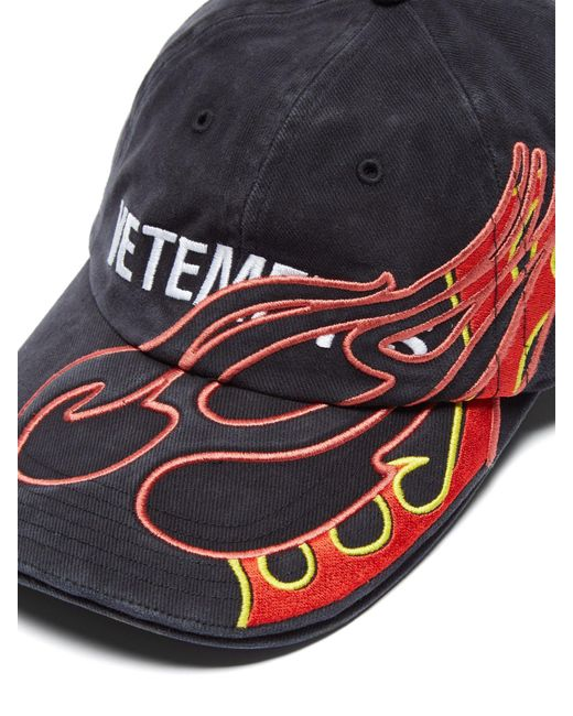 2e6868050784f6 ... Vetements - Black Flame Embroidered Cotton Baseball Cap - Lyst ...