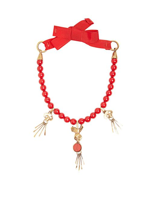 Valentino - Red Skull-pendant Beaded Necklace - Lyst