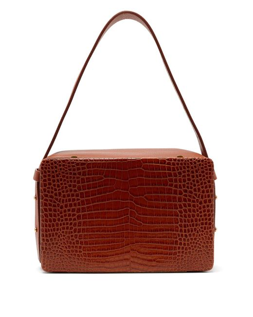 Lutz Morris - Brown Tate Medium Crocodile-effect Leather Shoulder Bag - Lyst