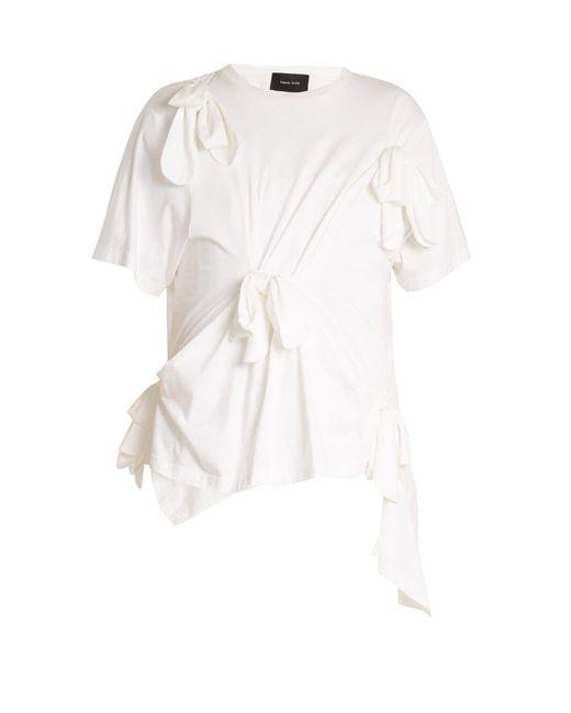 Simone Rocha - - Knot Detail Cotton Jersey T Shirt - Womens - White - Lyst