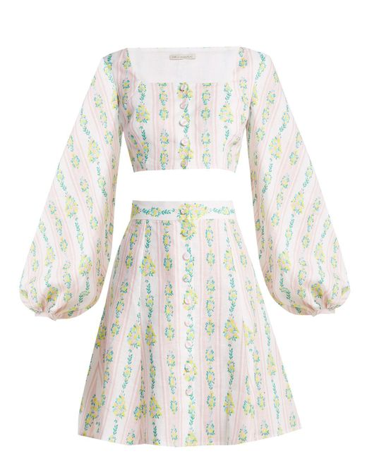 Emilia Wickstead - Multicolor Ines Floral-print Linen Crop Top And Skirt - Lyst