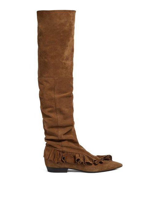 J.W.Anderson Ruffled suede slouched over-the-knee boots Hard Wearing Cheap Enjoy Sale Store I0s4I5wD7Z