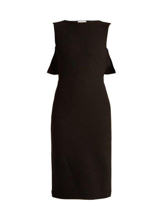 OSMAN - Black Cassidy Cape-back Wool-crepe Dress - Lyst