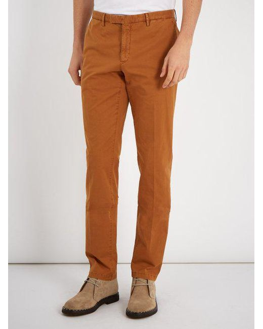 Mid-rise straight-leg cotton-blend chino trousers Boglioli i0HJz5