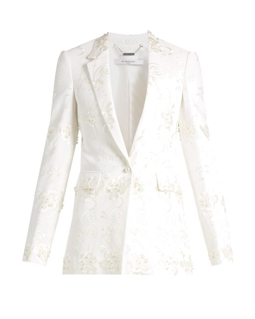 Givenchy | White Floral-embroidery Stretch-crepe Jacket | Lyst