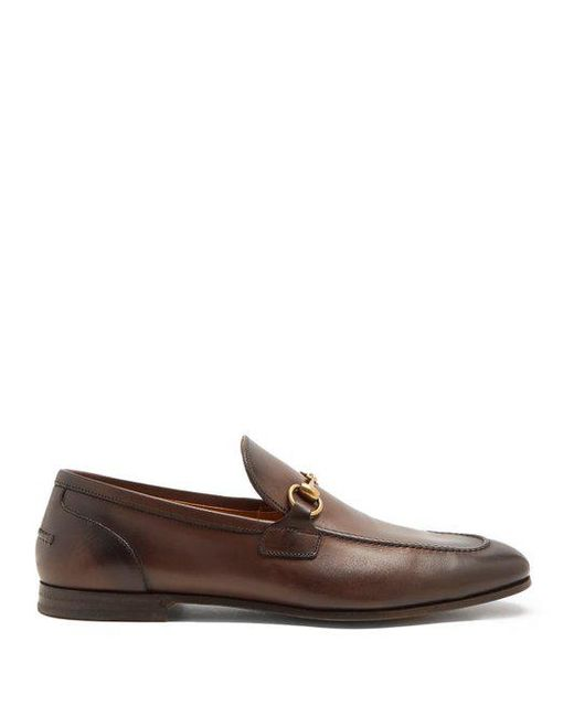 Gucci  Brown Jordaan Leather Loafers for Men  Lyst