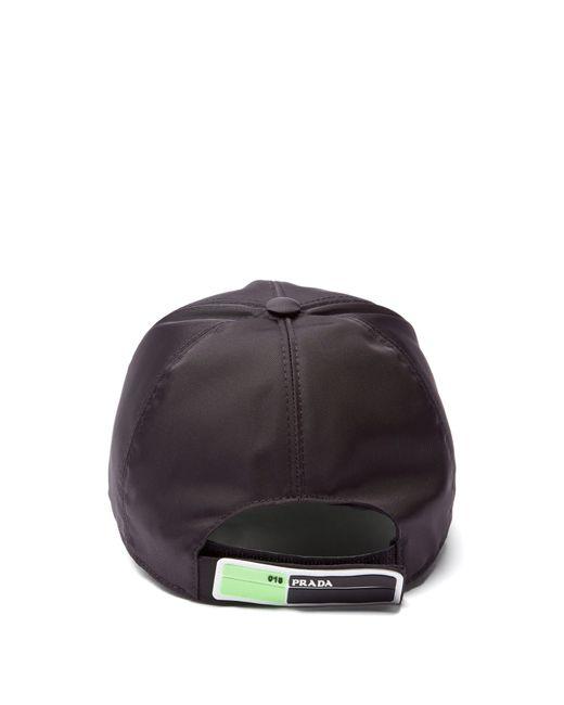 ba6f8063a630d ... Prada - Black Logo Appliqué Nylon Cap for Men - Lyst ...