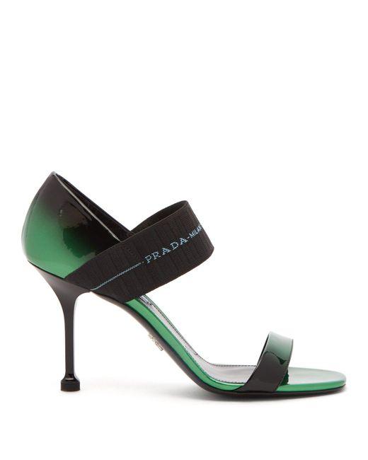 Prada - Black Logo Strap Patent Leather Sandals - Lyst