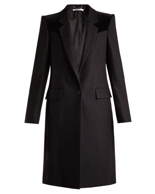Givenchy - Black Velvet-trimmed Wool-blend Coat - Lyst