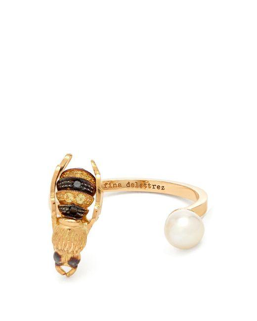 Delfina Delettrez - Metallic Diamond, Pearl & Yellow Gold Ring - Lyst