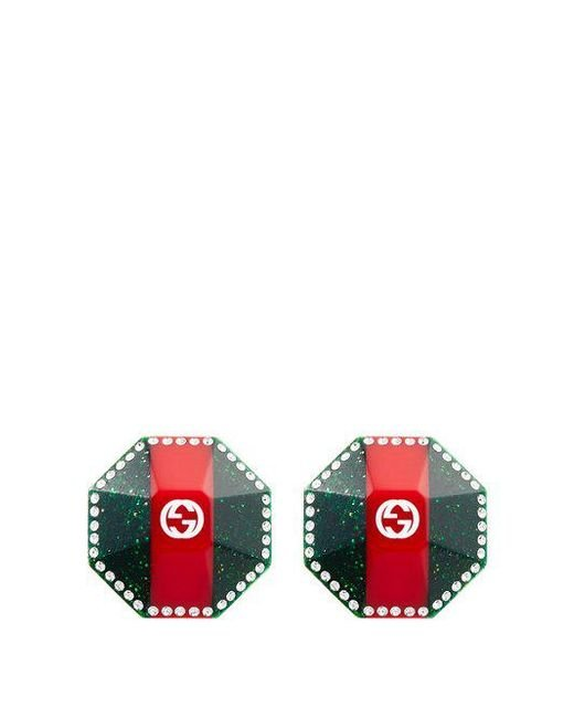 Web-striped crystal-embellished earrings Gucci
