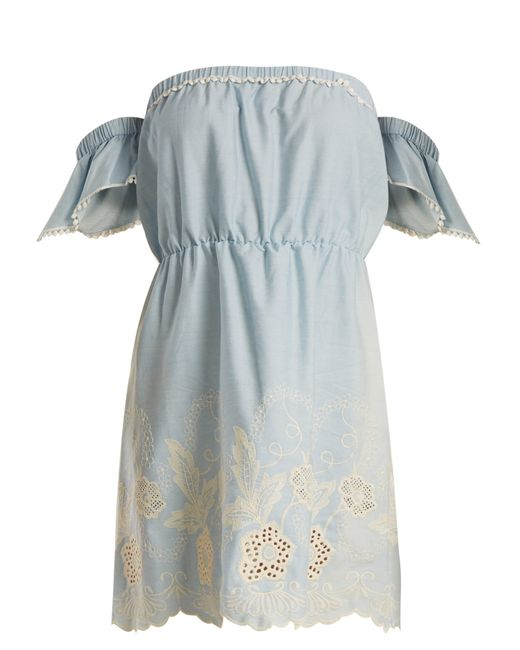 Athena Procopiou - Blue Gypset Off The Shoulder Cotton Mini Dress - Lyst