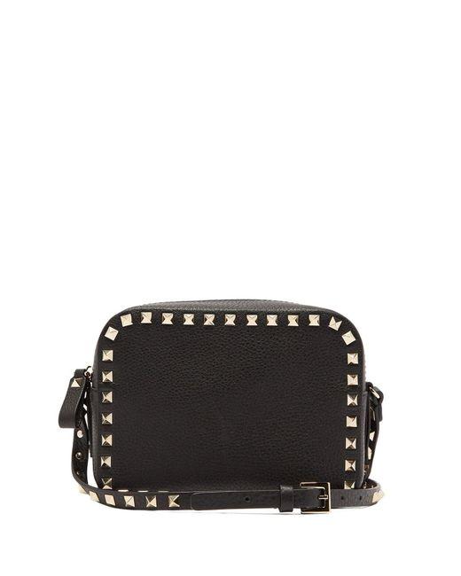 e4592ceedecf ... Valentino - Black Rockstud Camera Leather Cross Body Bag - Lyst ...