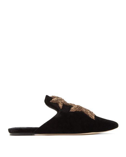 Sanayi 313 | Black Stelle Embroidered Velvet Slipper Shoes | Lyst