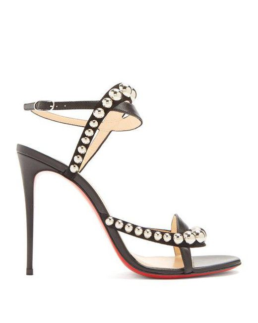 Galeria 100 Studded Suede And Leather Sandals - Black Christian Louboutin TxHwCCJ