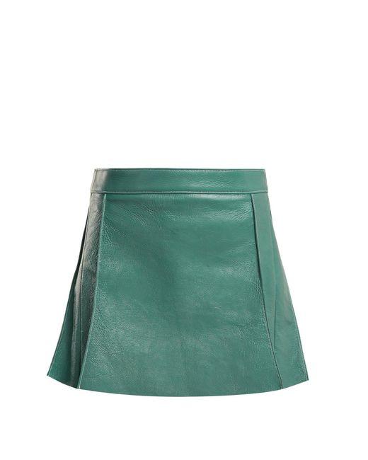 Chloé - Blue Pleated Leather Mini Skirt - Lyst