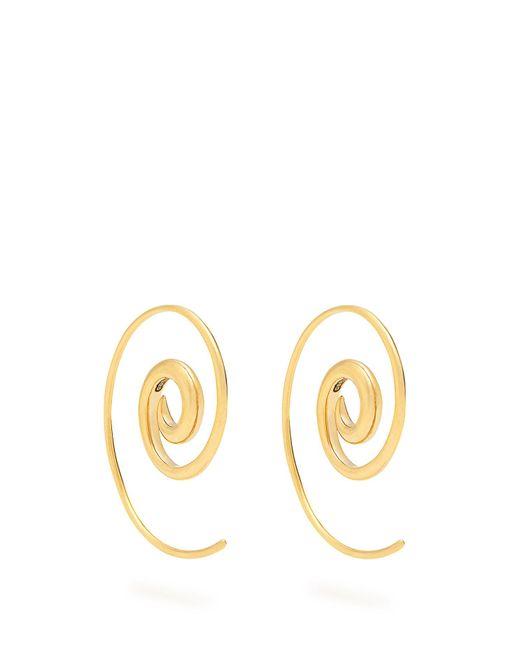 Noor Fares | Metallic Rainbow Spiral Coated Yellow-gold Earrings | Lyst