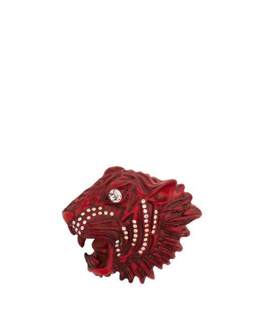 Gucci - Red Tiger Head Crystal Embellished Brooch - Lyst