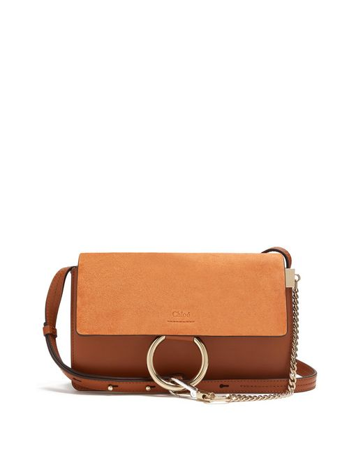 Chloé | Brown Faye Small Suede And Leather Cross-body Bag | Lyst