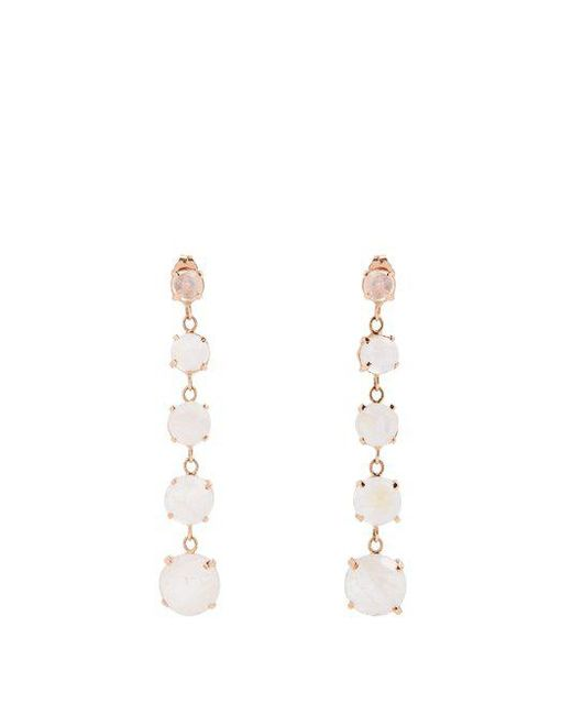 Jacquie Aiche - White Moonstone & Rose-gold Earrings - Lyst