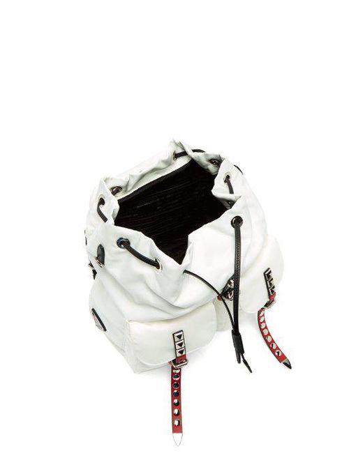 ec54d7bf8377 wholesale prada white new vela studded nylon and leather backpack lyst  ed3b8 114fb