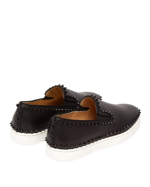 1319f149959 ... Christian Louboutin - Black Boat Stud Embellished Leather Slip On Trainers  for Men - Lyst ...