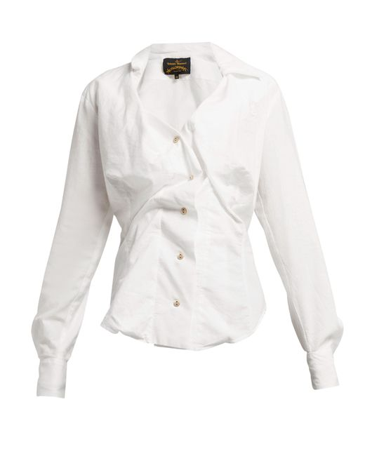 Vivienne Westwood Anglomania - White Twisted Cotton Blouse - Lyst