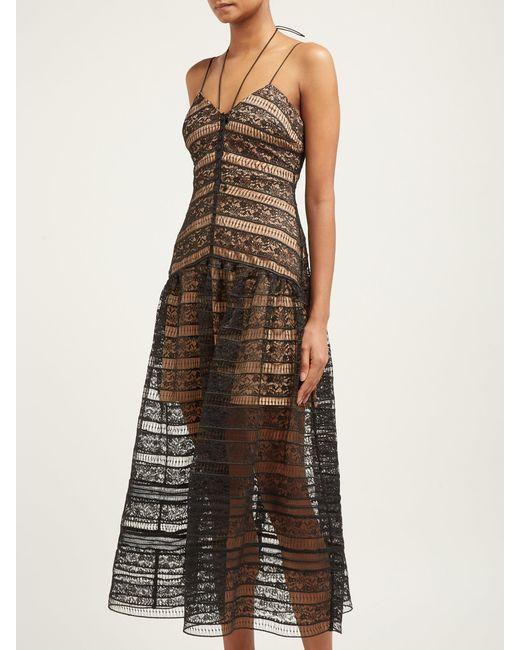8ce8a09294db8 ... Self-Portrait - Black Floral Lace Strappy Midi Dress - Lyst ...