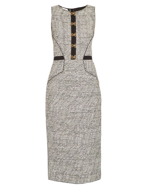 Oscar de la Renta - Multicolor Sleeveless Bouclé-tweed Pencil Dress - Lyst