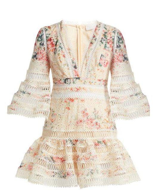 Laelia diamond trim floral print cotton dress Zimmermann 0qnxrc