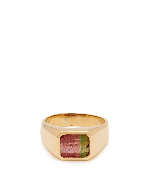 Jacquie Aiche - Green Tourmaline Signet Ring - Lyst
