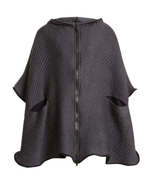 Charli Cohen - Gray On The Qt Quilted Wool-blend Poncho - Lyst
