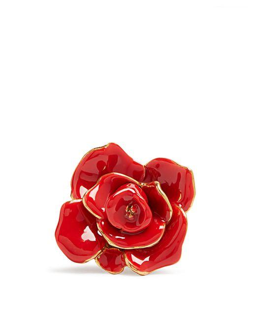 Oscar de la Renta   Red Rosette Enamel-painted Ring   Lyst
