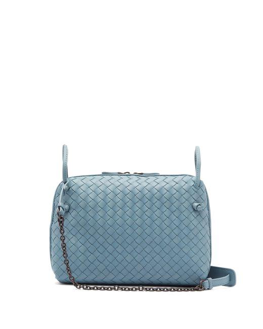 40a01a3f14 Bottega Veneta - Blue Nodini Intrecciato Leather Cross Body Bag - Lyst ...