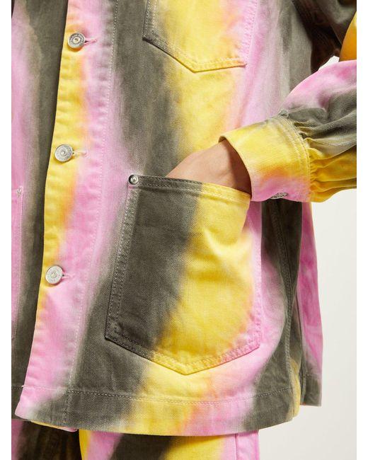 204e76a571e ... Ganni - Gray Tie Dye Denim Jacket - Lyst