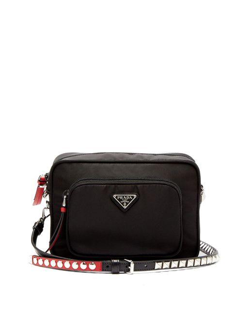 43e72d818730 Prada - Black New Vela Mini Studded Nylon Cross Body Bag - Lyst ...