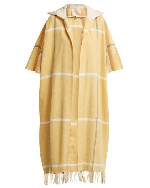 Roksanda - Yellow Leisha Hooded Checked Wool Coat - Lyst
