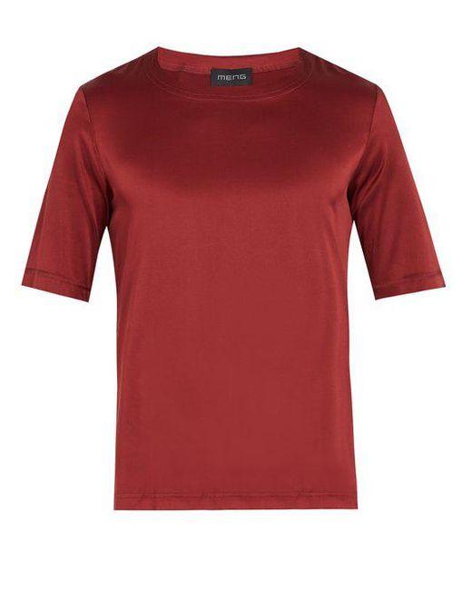 Meng - Red Crew-neck Silk-satin Pyjama Top for Men - Lyst