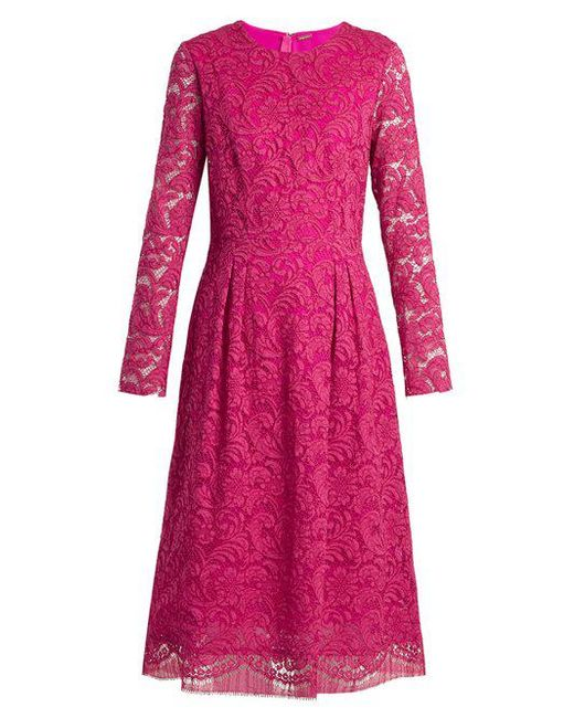Adam Lippes - Pink Long-sleeved Guipure-lace Cotton-blend Dress - Lyst
