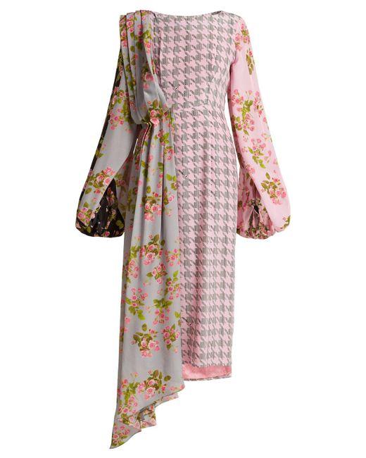 Natasha Zinko - Pink Floral-panel Houndstooth Silk Midi Dress - Lyst
