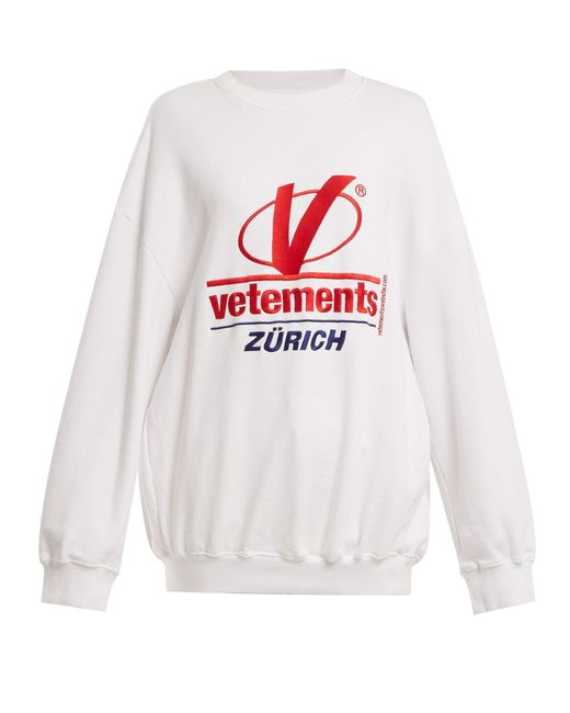 Vetements - White Logo-embroidered Cotton-blend Sweatshirt - Lyst