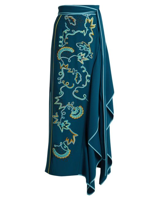 Peter Pilotto - Blue Embroidered Asymmetric Crepe-cady Skirt - Lyst