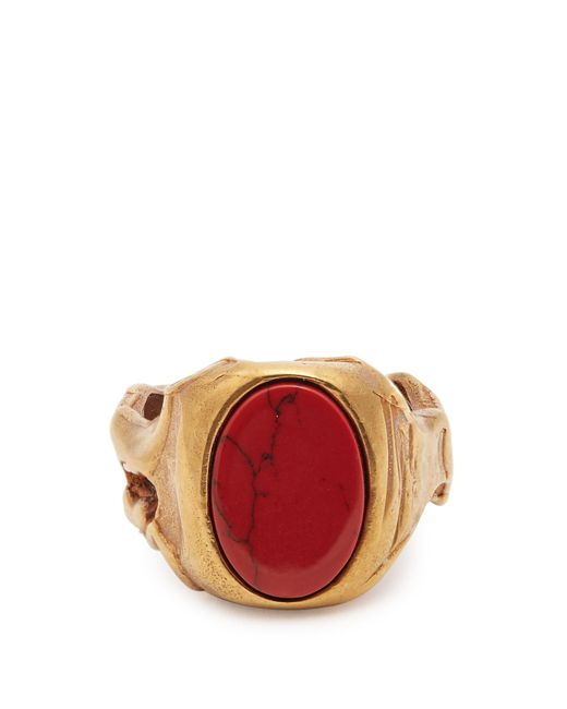 Valentino | Red Stone-embellished Signet Ring | Lyst