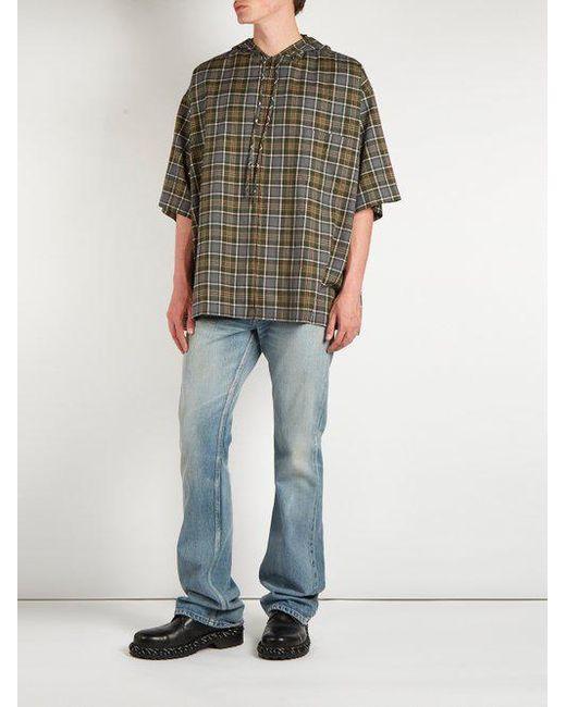 53c34f24 ... Balenciaga - Gray Plaid Cotton Flannel Hooded Shirt for Men - Lyst ...
