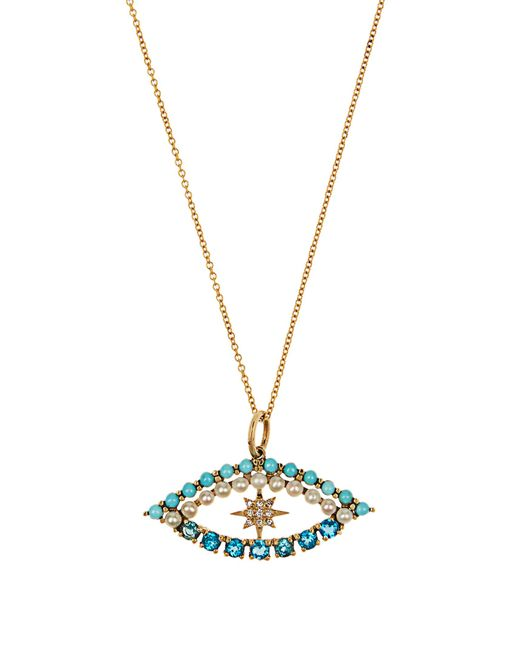 Ileana Makri | Multicolor Diamond, Apatite, Turquoise & Pearl Necklace | Lyst