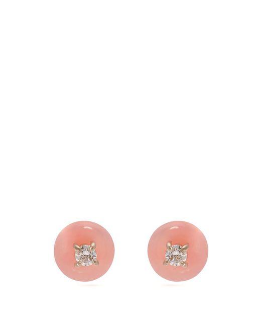 Irene Neuwirth - Pink 18kt Gold, Diamond & Opal Drop Earrings - Lyst