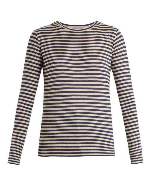 Vince | Blue Striped Silk-blend Long-sleeved T-shirt | Lyst