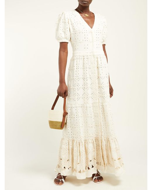 6dace5a36c ... SIR - Natural Cherie Beaded Broderie Anglaise Linen Maxi Dress - Lyst  ...