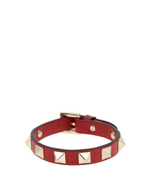 Valentino | Red Rockstud Leather Bracelet | Lyst