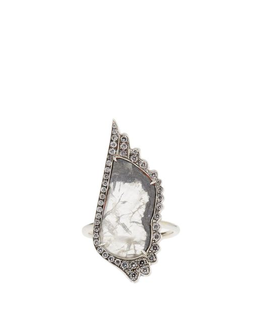 Susan Foster - Metallic Diamond Slice & White-gold Ring - Lyst